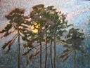 Harvest Moon with Pine Silhouettes SOLD